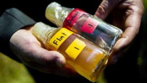 Credit: Jake May/AP Virginia Tech professor Marc Edwards shows the difference in quality between Detroit and Flint water after testing.