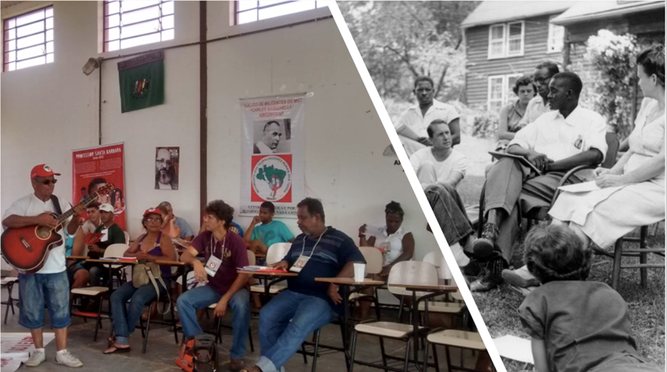 The left side of this image depicts a classroom in Brazil where popular education frameworks guided the education of the Landless Workers Movement to organize and reclaim power. The image on the right depicts a multiracial movement-building meeting at the Highlander Center in Tennessee. Photos: http://thevolcano.org/2018/05/15/mst/ and https://www.jacobinmag.com/2019/04/highlander-folk-school-tennessee-organizing-movements